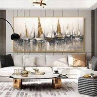 Golden Sailboat Painting Wall Art For Living Room Boat Ship Pictures Canvas Prints Modern Home Decor Oil Painting On Canvas