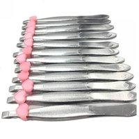 Strumenti per sopracciglia Stencil 12pcs / confezione Pinzetta in acciaio inox in acciaio inox Tinmers in metallo