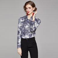 トップ販売レディースクラシックプリントシャツ滑走路レディースデザイナーブラウス美しい長袖春秋ボタンエレガントなシャツオフィススリムフィットスタイリッシュなトップス