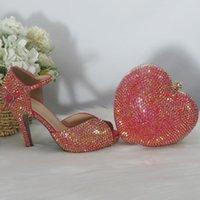 Sandals BaoYaFang Red Bling Crystal Summer Sandal Woman High Heels Platform Shoes Ladies Big Size Open Toe Wedding Bag Set Bride