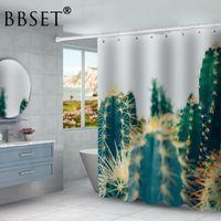 Rideaux de douche imprimés multi-formats imperméables Cactus tropicaux Rideau de douche Polyester Tissu Rideau de bain pour la salle de bain Décor