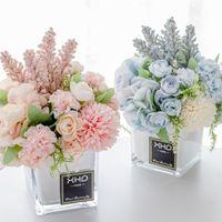 꽃병과 인공 수국 실크 꽃 DIY 꽃다발 결혼 생일 파티 홈 장식에 대 한 정렬 중심