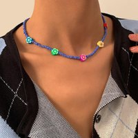 Chains IngeSight.Z Boho Colorful Flower Short Choker Necklaces Blue Color Seed Beads Collar For Women Girls Collier Jewelry