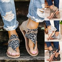 2020 Femmes Sandales Sandales Appartements Chaussures Femme Pu en cuir Zapatos de Mujer Casual Bohême Sandalias Sapato Sapato Feminino Leopard Snake F9RP #