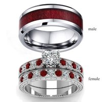 Wedding Rings Stylish Brown Red Rhinestone Couple Accessories Paired Valentine's Day Gift 2021