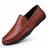 100% Hakiki Deri Erkek Ayakkabı Yumuşak Nefes Moccasins Loafer'lar 2020 Moda Erkekler Flats Comfy Sürüş Ayakkabı Bayan Sandalet Rahat H4SM #