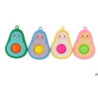 Cartoon Fidget Bubble Toys Key Chain Children's Car Avocado Pioneer Cartoon Puzzle Autism Stress Relief Toys Keyring Pan HWF7762
