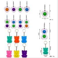 14 Renkler Pop It Fidget Oyuncaklar Basit Demple Anahtarlık Sarkık Kalp Ayı 2 Topları Push Kabarcık Anahtarlıklar Anahtarlık Çantası Dekorları GG314SIU