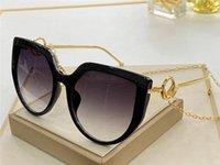 Yeni Moda Tasarım Kadın Güneş Gözlüğü 0408 Kedi Göz Çerçevesi Popüler Kulak Zinciri Tasarım Ile Basit Stil UV 400 Koruyucu Gözlük En Kaliteli