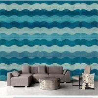 Fallpapers große benutzerdefinierte wandbild tapete mediterran stil vertikale streifen blau hintergrund wand holzkorn 3d wasserdicht material