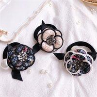 Mode meisjes camellia accessoires rustieke kleine verse bloem kralen parel hoofdband rubberen band elastische haarbanden