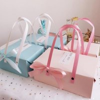 Gift Wrap 100pcs Pink Blue Paper Box With Handle Mooncake Biscuit Candy Party Wedding Favors Giveaway Boxes