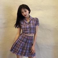 Cintura alta da mulher da xadrez roxa Uma manta fina do estudante do JK curto com a saia do corredor de forro 2 conjunto fêmea 5tio