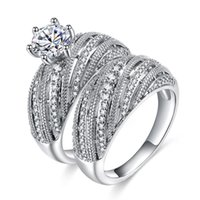 Wedding Rings ZHOUYANG Engagement Ring Sets For Women Luxury Style Six Zircon Silver Color 2 PCS Gift Fashion Jewelry KAR400