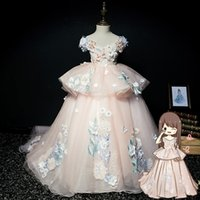 Real Picture Girls Pageant Dresses Cap Sleeve 3D Flower Corset Ball Gown Toddler Flower Girl Gown Kids Formal Party First Communi
