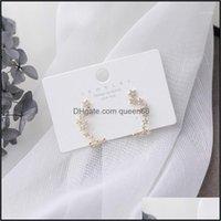 Stud Jewelrystud Design Fashion Jewelery Micro-Set Zircon Star Long Earrings Female Korea Trendy Elegant Holiday Party Earring For Woman1 Dr