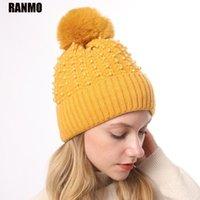 Шапочка / черепные колпачки Ranmo роскошная жемчужная шапка для женщин зима плюс бархат сгущает теплые шляпы девушки черепочки женские кашемировые вязаные шапочки