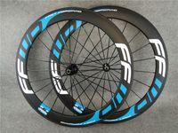 Dark Blue F6R 700c 3K Matte 60mm FFWD Carbon Road Bike Wheels Front Rear Wheelset with 23mm Width Black Novatec A291 Hubs 11 Speed
