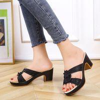 Sandals Summer Women Elegant Chunky Heel Platform Flower Appliques Bling Rubber Sole Peep Toe Fashion Casual Ladies Shoes 2021