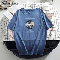 Хирсионии напечатанные хлопчатобумажные футболки женщины летние горячие хараджуку футболки корейские винтажные тройники для дам удобные свободные женские топы 210310