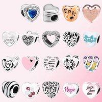 2020 100% 925 Ayar Gümüş Klasik Kalp Şeklinde Karikatür Charm Boncuklu Bilezik DIY Aksesuarları Boncuklu Ücretsiz Kargo Toptan