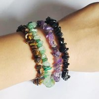 Charm Bracelets Lucky Reiki Stone Chip Beads Bracelet Natural Crystal Fashion Personality Simplicity For Women Men Jewelry Gifts