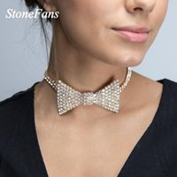 Chokers Stonefans Sexy Rhinestone Bow Choker Necklace Gold For Women Charm High Quality Wedding Bridal Jewlery Gifts