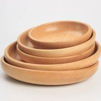 라운드 나무 디저트 빵 과일 접시 차 티 서버 트레이 나무 컵 홀더 보울 패드 식기 매트