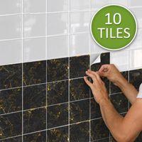 Wall Stickers Black And Gold Marble Tile Sticker Wallpaper Decorative Removable Peel & Stick Kitchen Backsplash