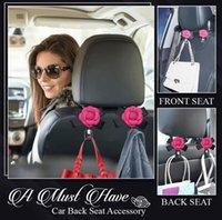 2pcs Pearl Camellia Flowers Car Seat Back Hook Bags Hanger Holder Auto Organizer Headrest Mount Storage Hooks Clips Styling