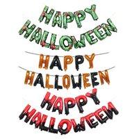 Décoration de fête Lettre de 16 pouces Happy Halloween Alphabet Aluminium Film Balloon Ensemble Ghost Fire Tour Paim