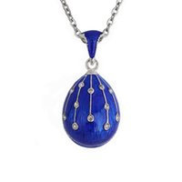 Hottest Jewelry Brass Enamel Handmade Russian Easter Vintage Egg Pendant Charm Crystal Rhinestone Necklace Gift To Women G0927