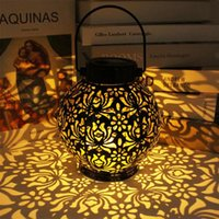 Strings Outdoor Lantern Garden Lights Solar Powered Flower Shape Shadow Iron Metal Tree Hanging Portable For Park Lawn Patio Decoration