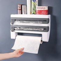 Hooks & Rails Wall-Mount Paper Towel Holder Sauce Bottle Rack 4 In 1 Cling Film Cutting Mutifunction Kitchen Organizer
