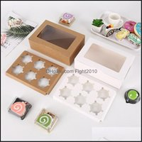 Office School Business & Industrialtransparent Windowed Cupcake Boxes White Brown Paper Muffin Baking Packing Party Gift Box Drop Delivery 2