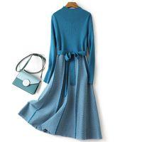 Gigogou Luxo Jacquard Long Knit Mulheres Maxi Sweater Dress Saades Turtleneck Uma linha Vestidos de Natal Festa Midi Vestido Vestidos 210303