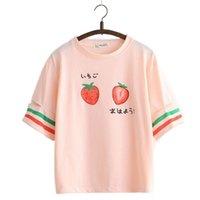 Веселая симпатичная клубника футболка для девочек Harajuku футболка женщин с коротким рукавом о-образным вырезом хлопок футболка полосатый мультфильм печатные топы Tee 210309