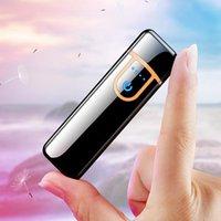 Hot Electric Touch Sensor Cool Lżejszy Czujnik odcisków palców USB Rechargeable Przenośne Wiatroszczelne Zapalniczki do palenia Akcesoria 12 Styl