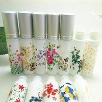 Storage Bottles & Jars 5ml 10ml Spray Perfume Bottle Glass Empty Container Flower Printed Essential Oil Vials Refillable 100pcs