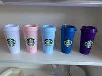 Sıcak Satış Starbucks 24 oz / 710 ml Plastik Tumbler Kullanımlık Temizle İçme Düz Alt Kupası Sütun Şekli Kapak Saman Kupa Bardian
