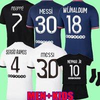 "Messi 30 MBAPPE Hakimi Sergio Ramos Soccer Trackys Wijnaldum 22 $ PSG ""Mailoots Футбольная рубашка 2021 2022 Третий Маркиньос Мужчины Дети Enfants Maillot de use Kit TPos"
