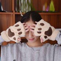 Five Fingers Gloves Women Winter Fashion Autumn Wrist Arm Warmer Knitted Keyboard Long Fingerless Cat Claw Mitten Femme Hiver