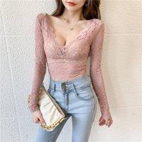 Women's Blouses & Shirts Zadily Sexy Floral Lace Slim Women Blouse Long Sleeve V Neck Backless Ladies Shirt 2021 Autumn Plus Size Female Clo