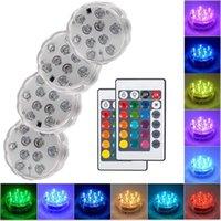 10 LED 원격 제어 RGB 잠수정 조명 배터리 운영 수중 야외 램프 야외 꽃병 그릇 가든 파티 장식