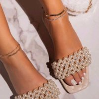 Luxurys Designers Shoes New Women Pearl Beach Shoes Flat Woman Sandals String Bead Summer 2021 Woman Shoes Lady Fashion Slippers