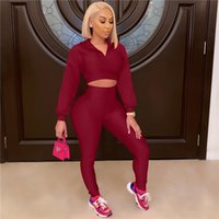 Women's Two Piece Pants 2021 Autumn Women Sexy Two-Piece Suit Long Sleeve Crop Tops Casual Solid Skinny Black White Bodycon Sets Streetwear