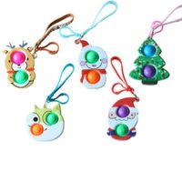 Озелердовый еджет Сенсорные пузыри Поппер ключ кольцо Push POP POO-его пальца головоломки игрушки 2021 рождественские рождественские рождественские др.