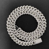 Necklaces Mosangnai Moissanite Diamonds 20 Inches 10mm 925 Sterling Silver White Gold Plated Mens Iced Out Miami Cuban Link Chain Hip Hop Necklace DJK0