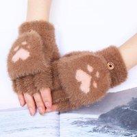 Five Fingers Gloves 1 Pair Lovely Winter Cute Plush Warm Mittens Cat Short Fingerless Half Finger For Women Ladies Girls