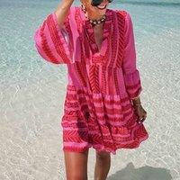 Verano NUEVO BOHO Vestido Casual suelto Suelto Mini Vestidos Mini Mujeres 2020 Bohemio Vestido de playa corta con cuello en V Sundress Femme Vestido J0301